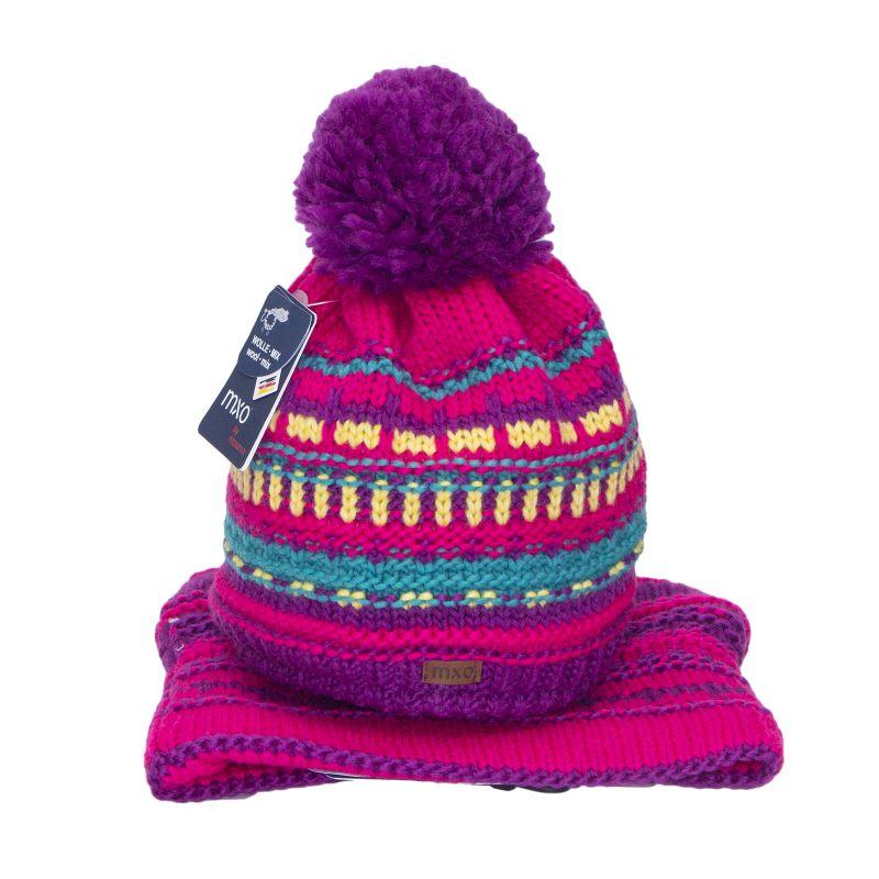 Комплект вязаный: шапка с помпоном + снуд для девочки