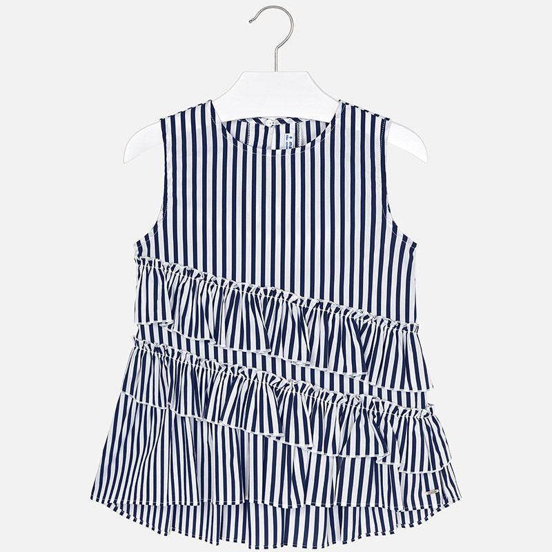 Блуза  в полоску с рюшами для девочки