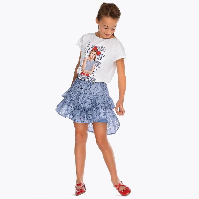Кружевная юбка с рюшами для девочки