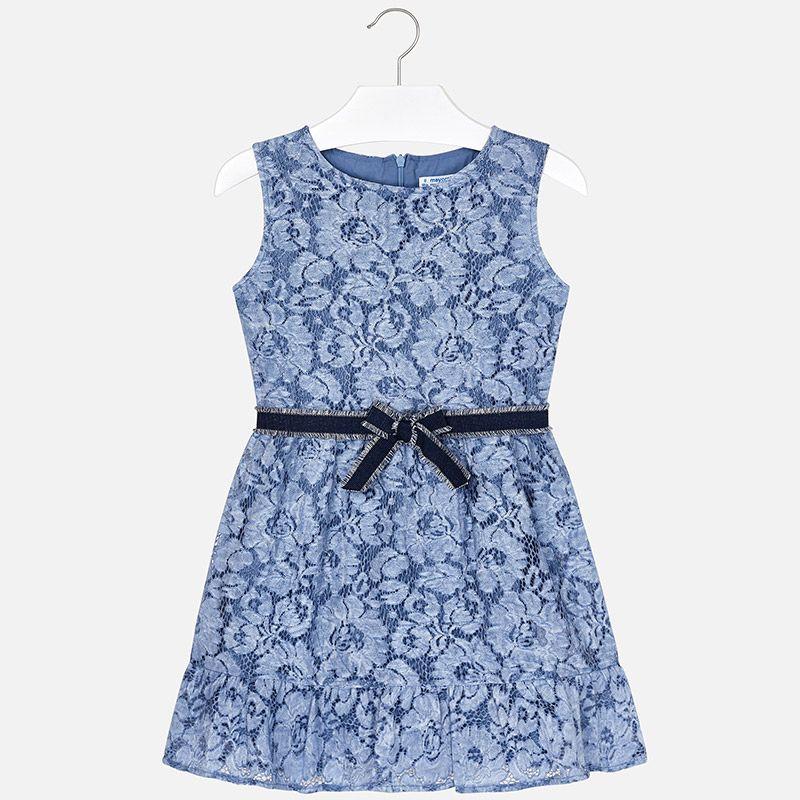 Кружевное платье с поясом для девочки