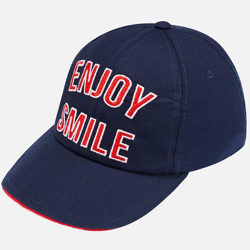"""Бейсболка """"ENJOY SMILE"""" в полоску для мальчика"""