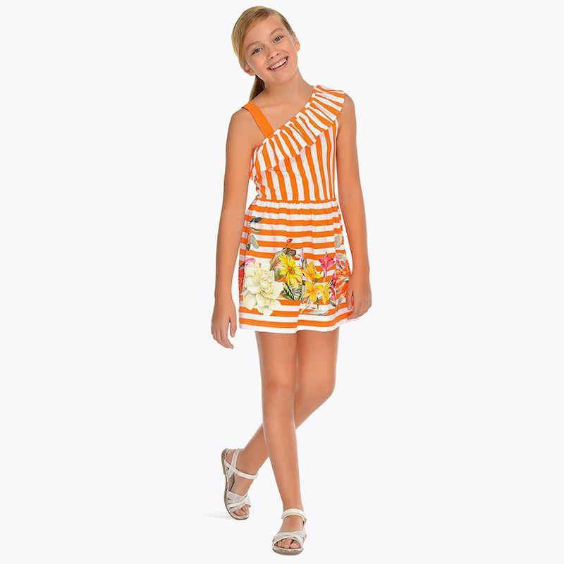 Платье в полоску с асимметричным вырезом для девочки