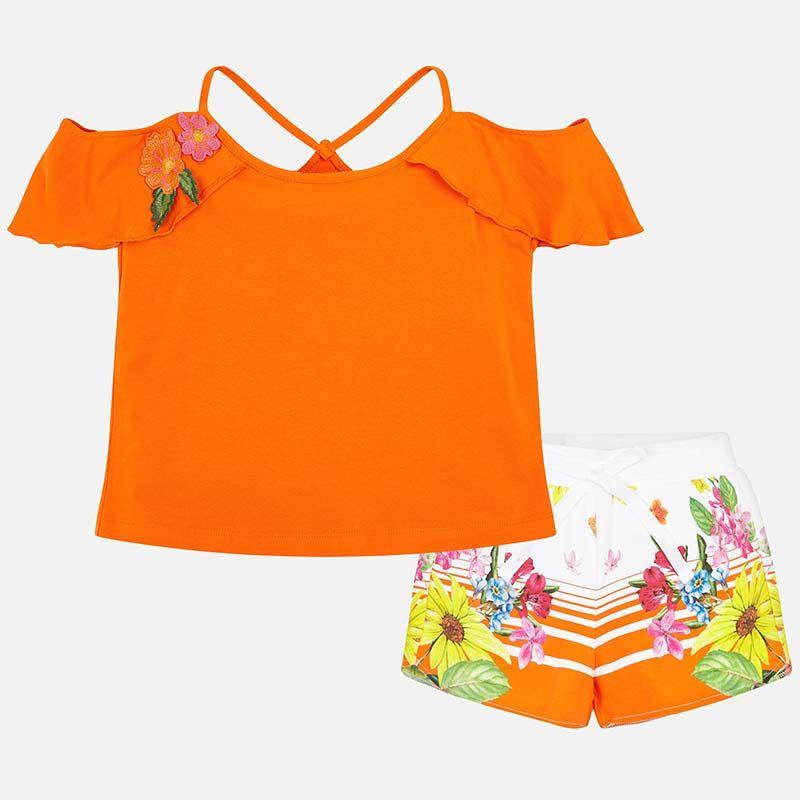 Летний цветной комплект: топ и шорты для девочки