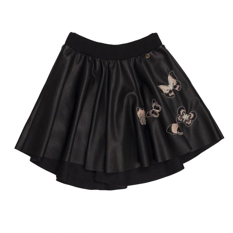 Расклешенная юбка из кожзама с вышивкой для девочки