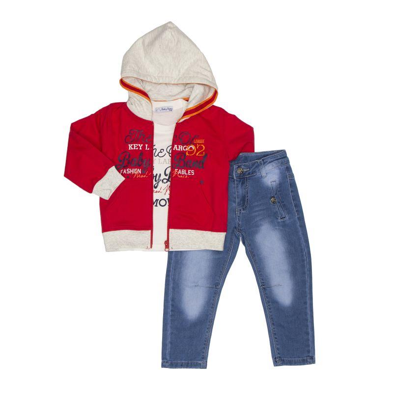 Комплект: кардиган + футболка + джинсы
