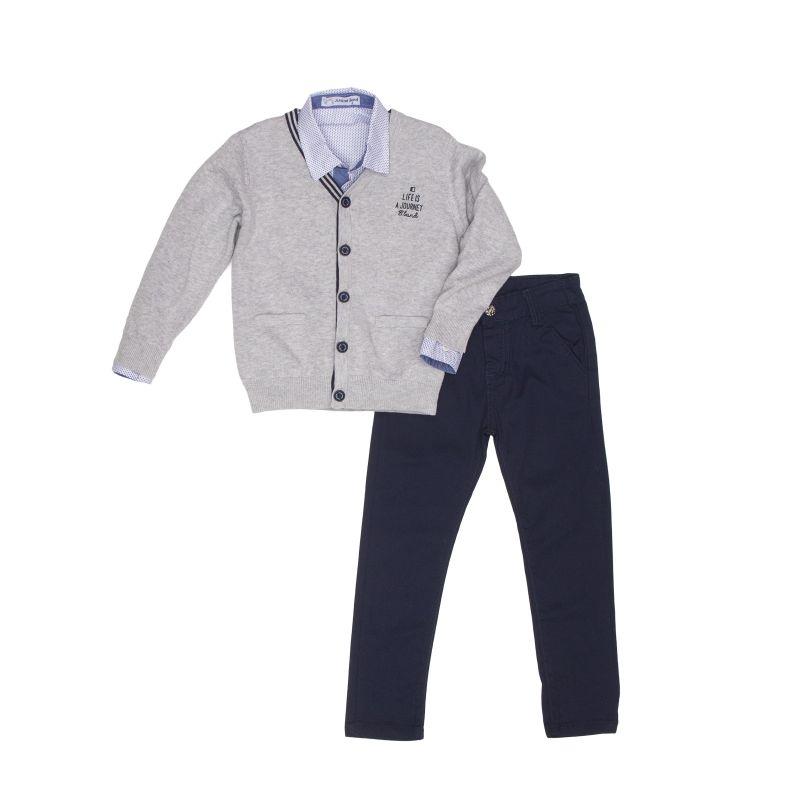 Костюм: кардиган + рубашка + брюки