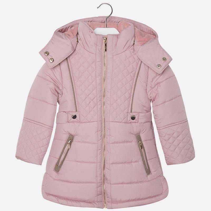 Куртка для девочки розового цвета удлинненная